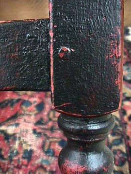 tavern table leg with worn finish