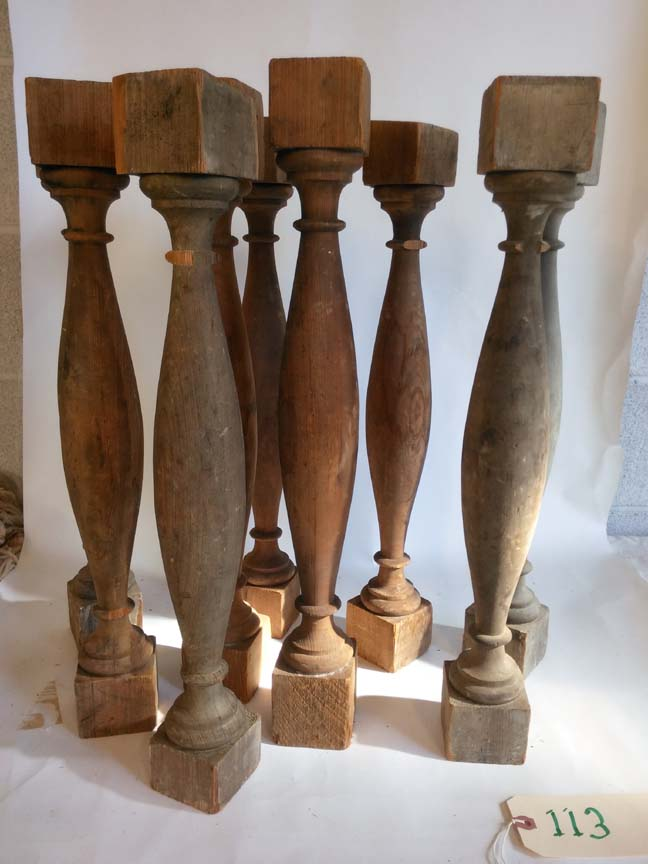 #113 Set of 9 Old Pine Spindle Balusters - $25