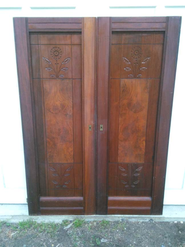 Pair of Vintage Victorial Walnut Armoire Doors #114 - $395