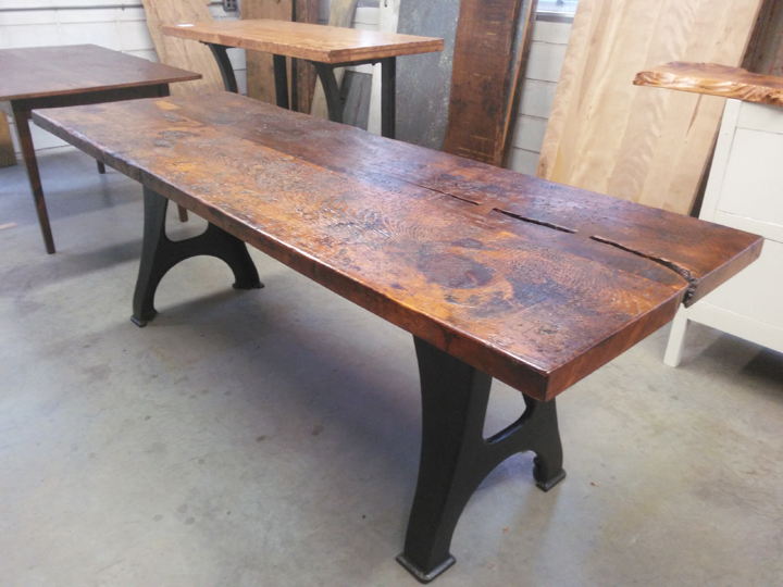 DT-90 Reclaimed Rustic Pine Top Table with Vintage Machine Base