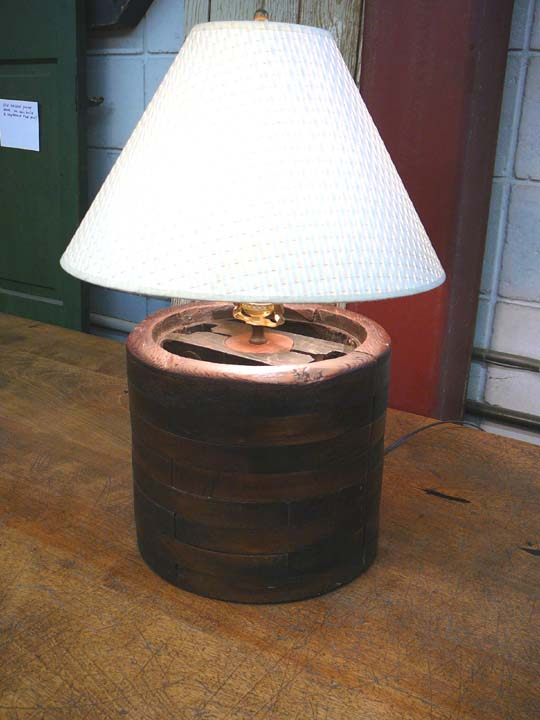 LT-39 WOODEN FLAT BELT PULLEY LAMP
