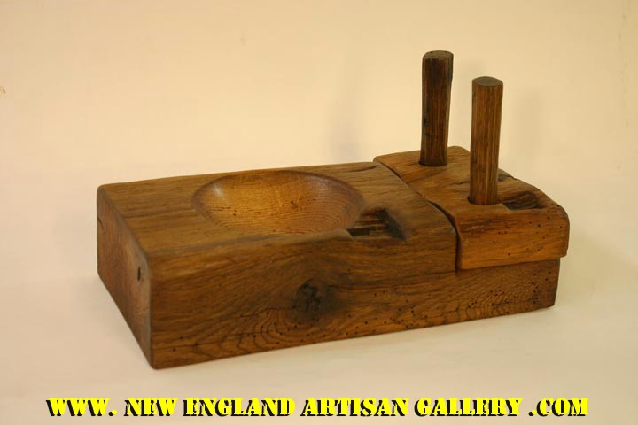 #SSB-0315 Hand Turned Oak Beam Bowl w/2 Original Pegs