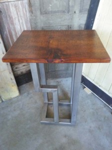 ET-72 Pine Stainless End Table - fullview